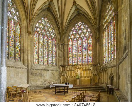 8 June 2017: Wells, Somerset, England - The Lady Chapel At The East End Of Wells Cathedral, Wells, S