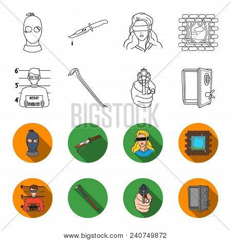 Photo Of Criminal, Scrap, Open Safe, Directional Gun.crime Set Collection Icons In Outline, Flat Sty