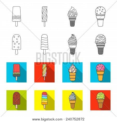 Ice Cream On A Stick, In A Waffle Cone And Other Species. Ice Cream Set Collection Icons In Outline,