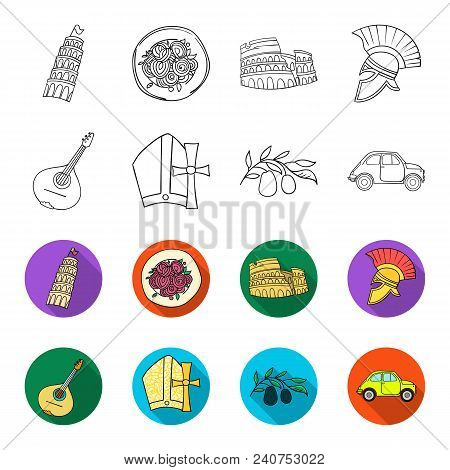 Mandolin, Papa, Olive, Retro Auto.italy Country Set Collection Icons In Outline, Flat Style Vector S