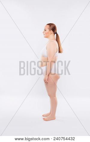 Side Full-size Full-length Snap Shot Of Fatty Obese Overfat Chubby Young Cute Beautiful Naked Woman