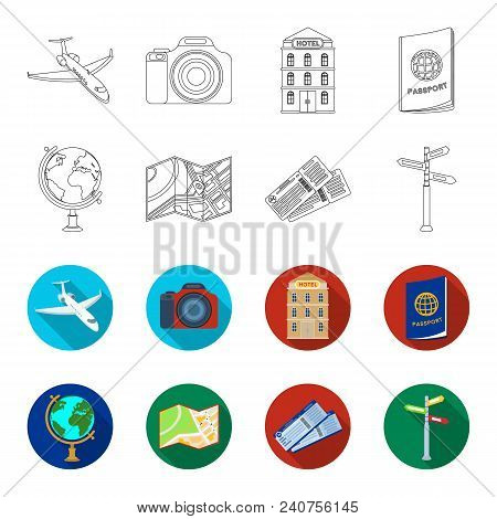 Vacation, Travel, Passport, Globe .rest And Travel Set Collection Icons In Outline, Flat Style Vecto