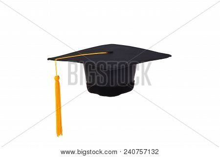 Graduation Cap With Gold Tassel Isolated On White Background With Clipping Path