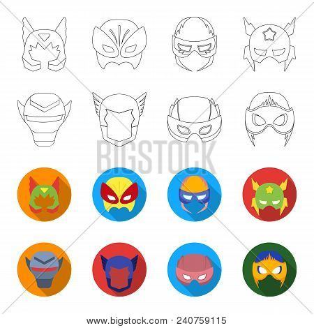 Helmet, Mask On The Head.mask Super Hero Set Collection Icons In Outline, Flat Style Vector Symbol S