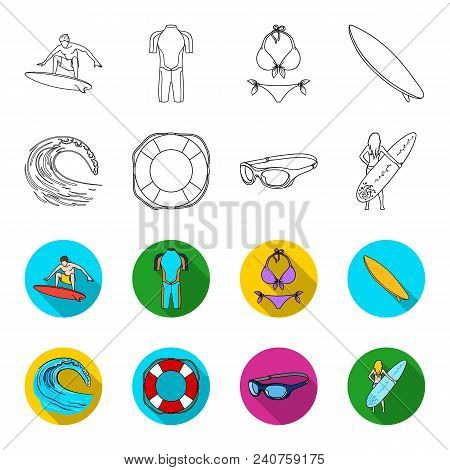 Oncoming Wave, Life Ring, Goggles, Girl Surfing. Surfing Set Collection Icons In Outline, Flat Style