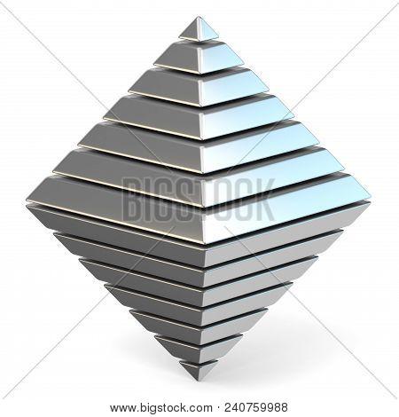 Steel Octahedron 3d Render Illustration On White Background