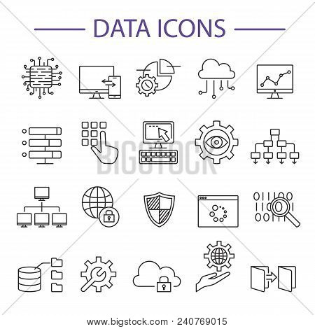 Data Icons Line Set Vector Illustration. Outline Signs Of Database Analytics Information Technology