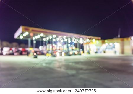 Abstract Blurred Large Semi-trucks At Fueling Station, Truck Stop In Usa
