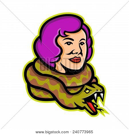 Mascot Icon Illustration Of Head Of A Circus Freak Snake Lady Or Snake Charmer With Python, A Circus