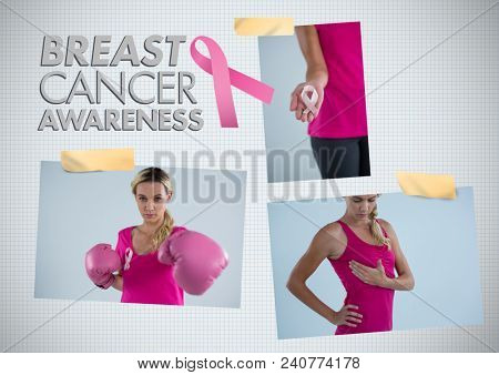 Breast Cancer Awareness text and Breast Cancer Awareness Photo Collage