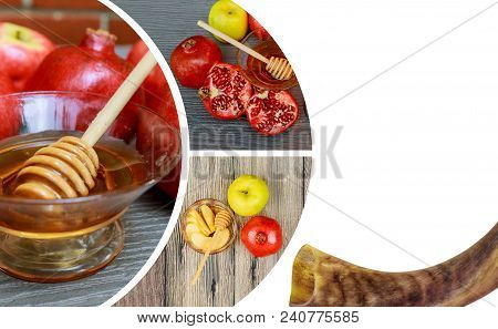 Jewish Holiday Rosh Hashana Banner Design With Honey And Apples. Traditional Food Of Jewish New Year