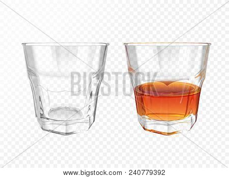 Whiskey glass 3D vector illustration of realistic crockery for brandy or cognac and whisky. Isolated transparent empty and half full glassware mockup template models set poster