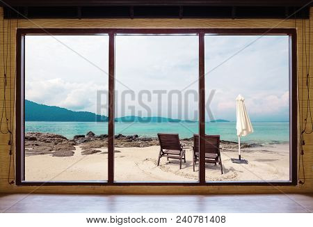 Opened Window Seeing Tropical Beach View In Summer Holiday At Weekend House And Resort. Summer Holid