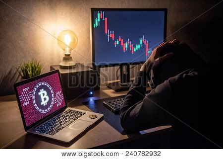 Male Investor Feeling Stressed And Frustrated Due To Bitcoin Crisis With Candlestick Graph Price Dow