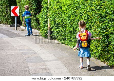 Little Girl On Her First Day Of School.