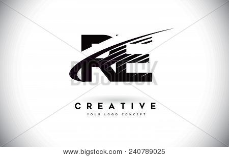 Re R E Letter Logo Design With Swoosh And Black Lines. Modern Creative Zebra Lines Letters Vector Lo