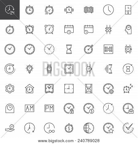 Time Outline Icons Set. Linear Style Symbols Collection, Line Signs Pack. Vector Graphics. Set Inclu