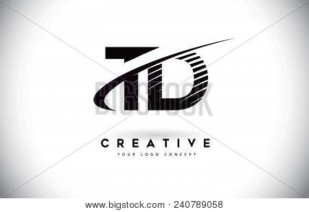 Td T D Letter Logo Design With Swoosh And Black Lines. Modern Creative Zebra Lines Letters Vector Lo