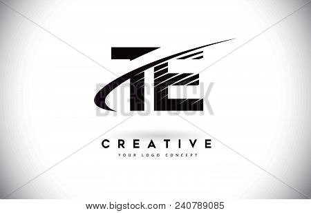 Te T E Letter Logo Design With Swoosh And Black Lines. Modern Creative Zebra Lines Letters Vector Lo