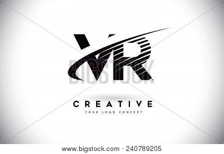 Vr V R Letter Logo Design With Swoosh And Black Lines. Modern Creative Zebra Lines Letters Vector Lo