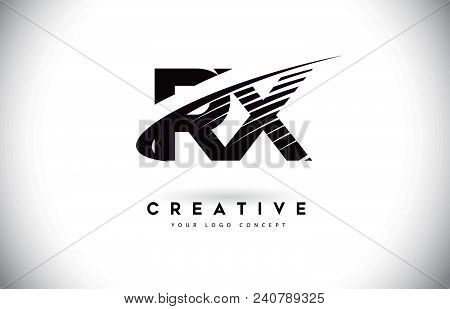 Rx R X Letter Logo Design With Swoosh And Black Lines. Modern Creative Zebra Lines Letters Vector Lo