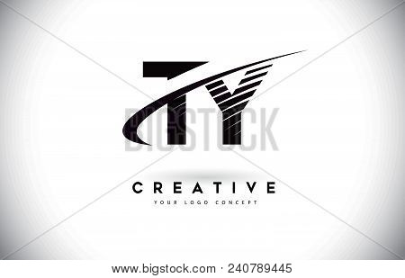 Ty T Y Letter Logo Design With Swoosh And Black Lines. Modern Creative Zebra Lines Letters Vector Lo