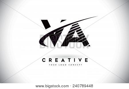 Va V A Letter Logo Design With Swoosh And Black Lines. Modern Creative Zebra Lines Letters Vector Lo