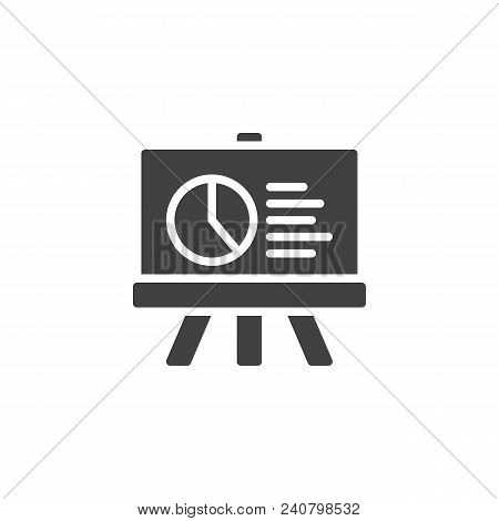 Presentation Board With Pie Chart Vector Icon. Filled Flat Sign For Mobile Concept And Web Design. D