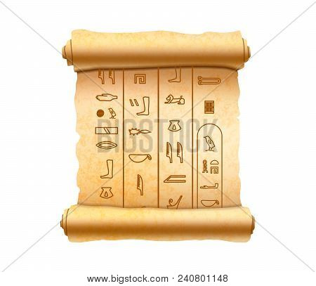 Old Vertical Textured Papyrus Scroll With Ancient Egypt Hieroglyphics Isolated On White