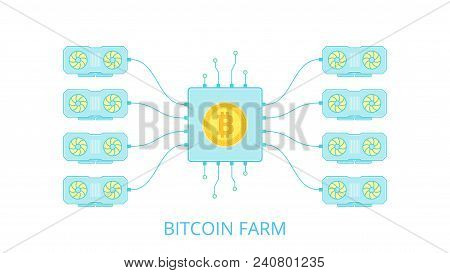 Gpu Is A Mining Farm In A Flat Style. Equipment For Mining Bitcoin. The Concept Of Mining Crypto Cur