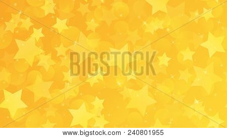 Abstract Geometric Background. Gold Stars On A Yellow Gradient Background. Vector Illustration.