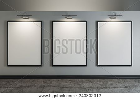 Contemporary Interior With Clean Posters On Wall. Design, Advertisement, Museum And Gallery Concept.