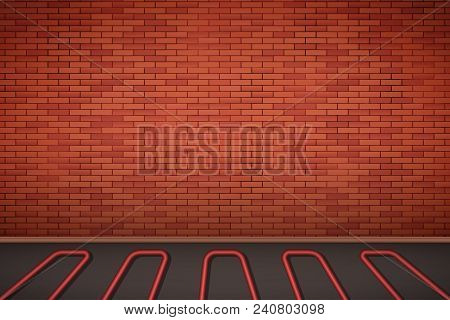 Brick Wall In Room With Heating Floor. Simple Interior Without Furnish And Furniture. Floor Heating