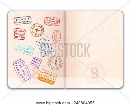 Realistic Open Foreign Passport With Immigration Stamps On One Of Pages Isolated On White