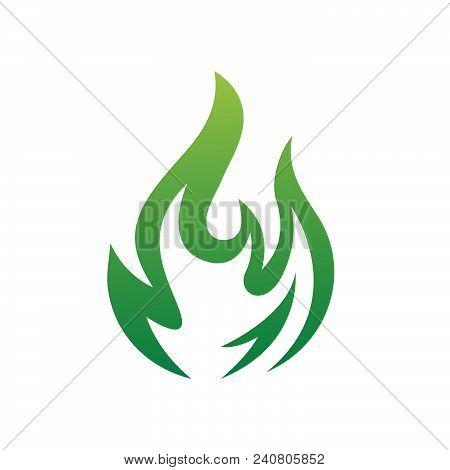 Green Flame Icon Vector Design. Colored Flame Or Fire Vector Icon Design