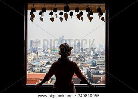 Woman In Wat Saket In Bangkok