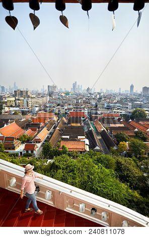 Woman At Wat Saket In Bangkok
