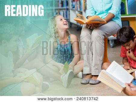 Reading text and Elementary School teacher with class
