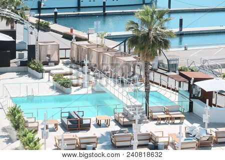 Barcelona, Spain - May 15: Luxury Lounge Next To The Sea And Yachting Port In Barcelona, Spain. On M