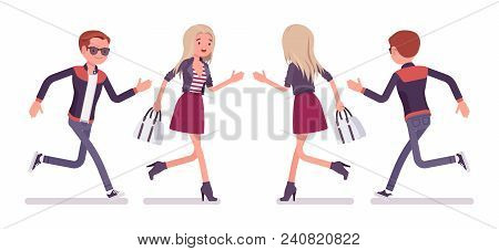 Young Man And Woman Running. Handsome Caucasian Millennial Boy And Attractive Blonde Girl Wearing Tr