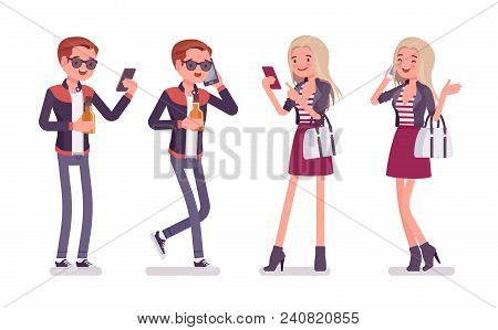 Young Man And Woman With Smartphone. Handsome Caucasian Millennial Boy And Attractive Blonde Girl We