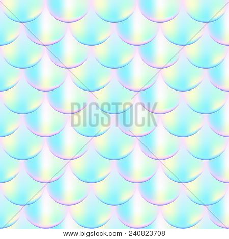 Mermaid Scale Vector Seamless Pattern. Iridescent Mermaid Vector Background. Fish Scale Pattern. Sum