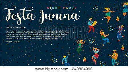 Festa Junina. Vector Templates For Latin American Holiday, The June Party Of Brazil. Design For Bann