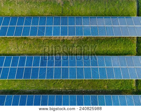 Aerial View Of Solar Energy Panels On Sunny Day, Solar Panels, Solar Power Plants.