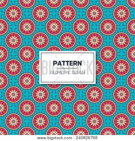 Vector Seamless Pattern With Abstract Ornament. Round Mandala Pattern For Printing On Fabric Or Pape