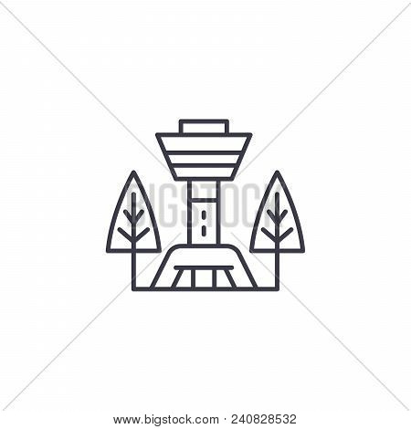 Tv Tower Line Icon, Vector Illustration. Tv Tower Linear Concept Sign.