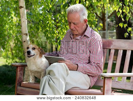 Old Man With Dog And Tablet In Garden