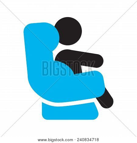 Baby Sitting In Car Seat Silhouette Icon. Infant Safety Seat. Child Restraint System. Isolated Vecto