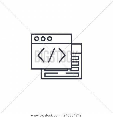 Webpage Source Line Icon, Vector Illustration. Webpage Source Linear Concept Sign.