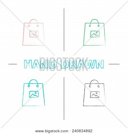 Printing On Shopping Bags Hand Drawn Icons Set. Color Brush Stroke. Isolated Vector Sketchy Illustra